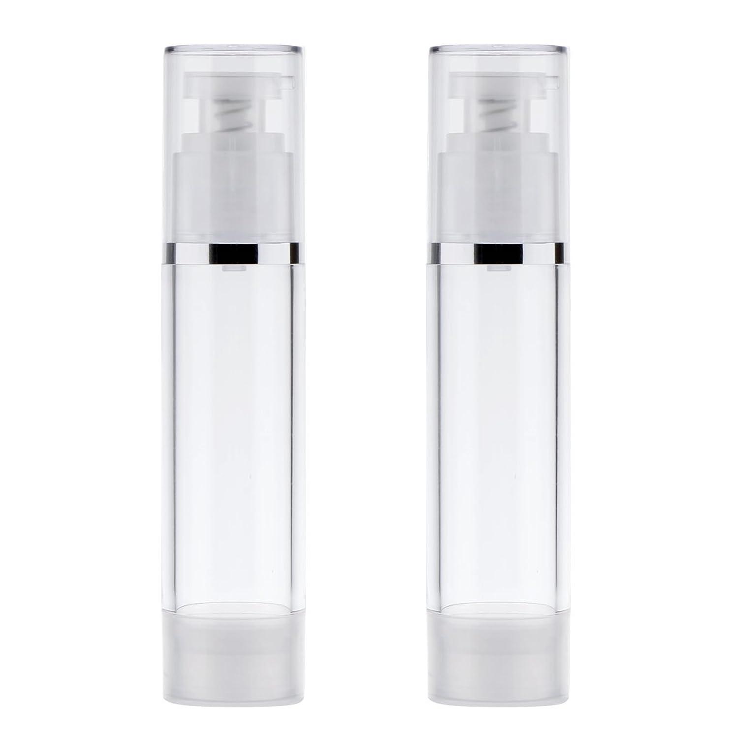 加入フォアタイプ有利Blesiya 2個 ポンプボトル ディスペンサー 詰め替え可 化粧品 クリーム ローション ポンプチューブ エアレスボトル 収納用 容器 3サイズ選べる - 50ml