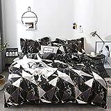 karever Luxury Black Marble Duvet Cover Set Queen 100% Cotton Marble Design Geometric Black and White Grey Triangle Men Women Bedding Zipper Closure Reversible Hotel Quality 3pcs