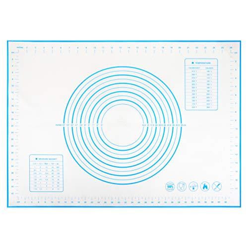 Gwhole Tappetino da Forno in Silicone 50x70cm Riutilizzabile Microforato, Grande Stuoia di Rolling della Pasticceria Spianatoia Stendipasta per Impastare Pasta con Misure Antiscivolo Antiaderente Blu