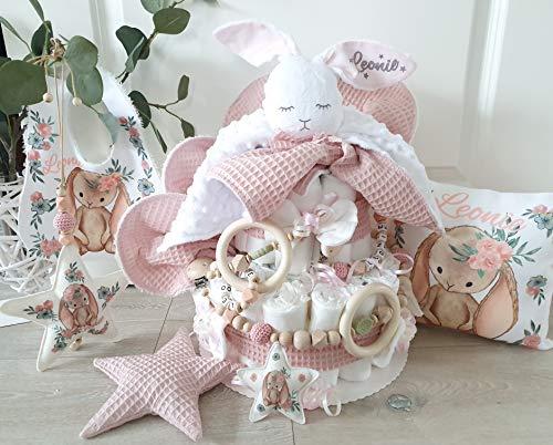 Luiertaart XXXL - meisje met naam - knuffeldier haas Hoppi fopspeen ketting & grijpling spuugdoek - cadeau, baby, geboorte