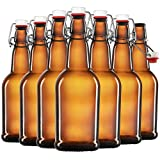 Amber Glass Swing Top Beer Bottles - 16 Ounce (6 Pack) Grolsch Bottles, with Flip-top Airtight Lid,...
