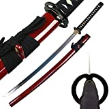 Ace Martial Arts Supply Classic Handmade Samurai Katana Sharp Sword-Musha (Musashi Ring Tsuba- Burgundy)
