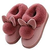 inverno unisex morbido caldo peluche casa pantofole cartone coniglio spessore inferiore antiscivolo pattini donna uomo scarpe slippers a vino rosso eu 38 39