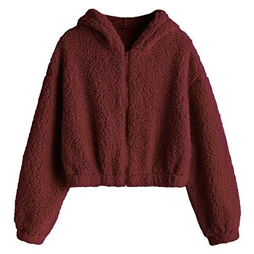ZAFUL dames rits faux lamsvel pluizig oversized met capuchon teddy korte jas jas jas jas