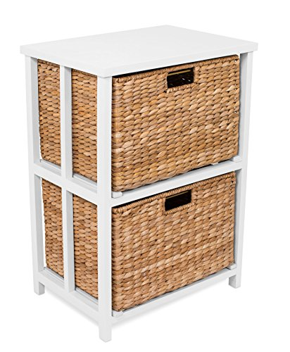BirdRock Home Seagrass 2 Tier File Cubby Cabinet - Vertical Storage Furniture - Office Décor - Home Decorative Box Filing - Natural Wood - Delivered Fully Assembled - Hanging Letter and Legal