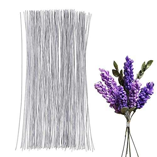 300 Piece Floral Wire - 16 Inches Flower Wire, 18 Gauge Floral Stem Wire for Florist Flower Arrangement, Bouquet Stem Warpping and DIY Craft (Sliver)