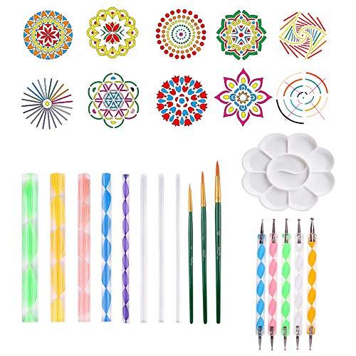 Amajoy 27 Piezas Mandala Rock Dotting Tools Conjunto de herramientas de pintura, Plantillas de mandala, Juego de pintura
