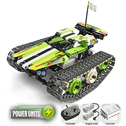 YOOKIED 2.4GHz Remote Control Car for Boys, RC Tracked Racer Building Blocks Set Kit, Educational STEM Toys for Kids Boys Age 8, 9, 12, 13 and 14 Year Old (Green)