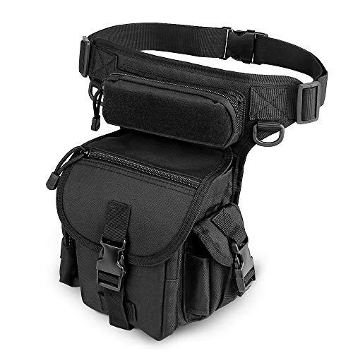 ELEPOWSTAR Bolso de Pierna al Aire Libre, Bolsa de Cintura Militar Iimpermeable con Función Múltiple para Moto, Cámping,Senderismo, Deporte para Hombres
