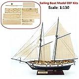 SAFETYON 1:130 Holzschiff Modelle DIY Schiffsmodell Kit Schiffbausatz Segelschiff Modellbausatz Holz Segelboot Holzmodell Kit Spielzeug -
