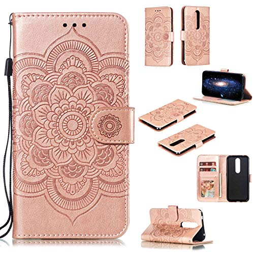 "MOONCASE Cover Nokia 4.2,Custodia in Pelle Sun Mandala Protettiva Portafoglio Flip Case Cover con Standing per Nokia 4.2 5.71"" Rosa"
