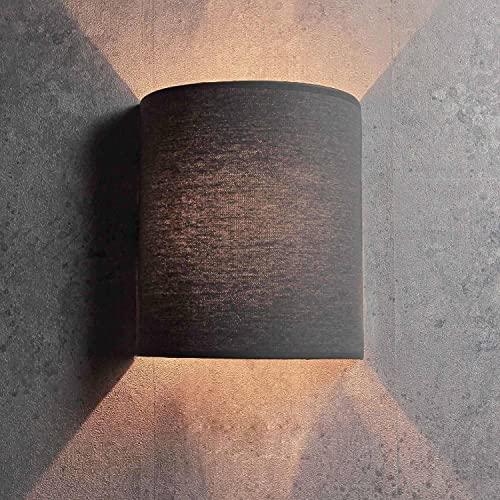 Aplique de pared gris semicircular en estilo moderno Loft pantalla de tela 1x E27 hasta máx. 60W 230V lámpara interior iluminación salón dormitorio pasillo
