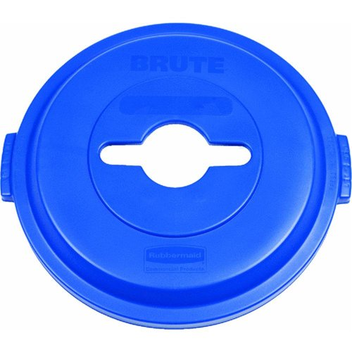 Rubbermaid Commercial Brute Plastic Single Stream Recycling Top, for 32 Gallon Container, 22.9-Inch Length X 9-51/64-Inch Width X 23-19/64-Inch Height, Blue (1788380)
