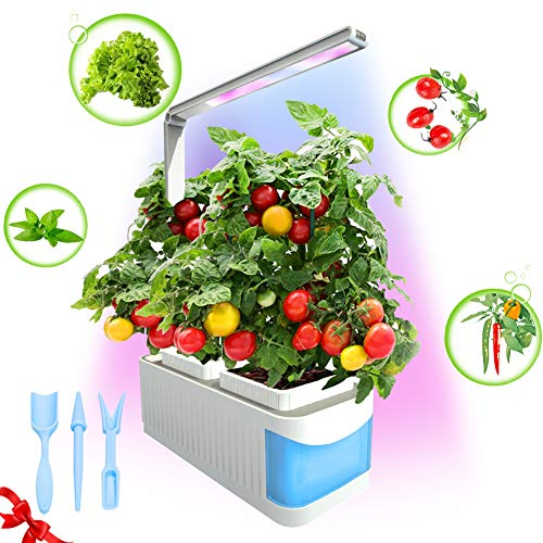 CHEE MONG Smart Hydroponics Herb Garden Lights, Suitable for All Plants, Kit Mini Growing Plant LED Light, As Desk Lamp for Your Reading Lights - Seeds Not Included - (Blue)