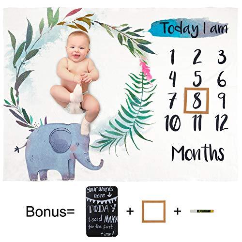 Basumee Baby Fotoshooting Decke Plüsch Monatliche Meilenstein Decken Neugeborenen Fotografie Requisiten Hintergrund 102cm x 130cm mit Rahmen Tafel und Marker, Elefant
