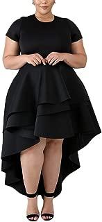Salimdy Womens Sexy Ruffle High Low Irregular Short Sleeve Soild Color Tops Blouse Peplum Shirt Dress Plus Size