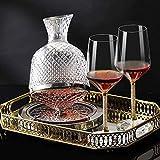 Copas de cóctel, Whisky la jarra del whisky Hombres Decanter Decanter Establece 1500ml para el alcohol con el acero inoxidable Base de cristal botella grande Top espiral vino de la jarra para el licor