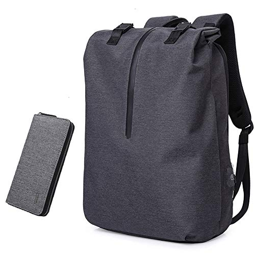 Large Capacity Backpack Roll-Top Laptop Backpack Multipurpose Anti-Thief Water Proof College School Book-Bag Business Backpack with USB Charging Port Fits 15.6' Notebook (Color : Black+Wallet)