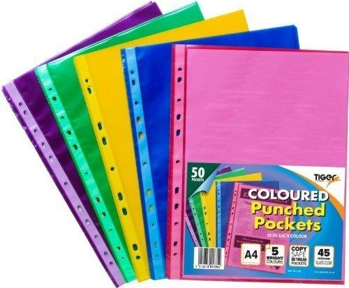 Tiger 50 carteras de plástico de colores transparentes y fuertes perforadas para archivar archivos.