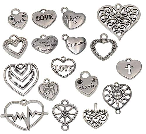 Yansanido 100 Gram Assorted Heart Silver DIY Charms Pendant Jewelry Making Supplies for Wedding Decoration Birthday and Christmas Party (100g Heart Silver)