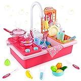 Diealles Shine Waschbecken Spielzeug, Spülbecken Küchenset, Küchenspielzeug mit Wasserkreislauf Geschirrspüler, Kinderspielzeug Rollenspiel(Rosa)