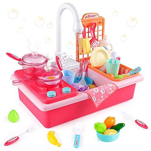 Diealles Shine Juguetes de Cocina, Juguetes para Fregadero de Cocina Lavaplatos Eléctrico Playhouse, con Canal, lavaplatos, Fregadero, Juegos de rol para niños, Regalo de imitación para niños (Rosa)