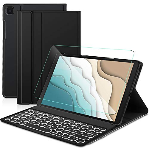Sross pour Samsung Galaxy Tab A 10.1 2019 Clavier, AZERTY Amovible Bluetooth Rétroéclairé Samsung Galaxy Tab A 10.1 2019 SM-T510/T515/T510N/T515N Clavier avec Coque + Verre Trempé, Noir
