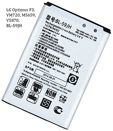 Bastex New Cell Phone Replacement Battery for LG Optimus F3, VM720, M5659, V5870, BL-59JH