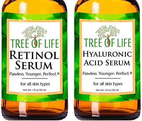 Anti Aging Serums - Retinol Serum and Hyaluronic Acid Serum 2-Pack Set (1 of each Anti Wrinkle Serum)