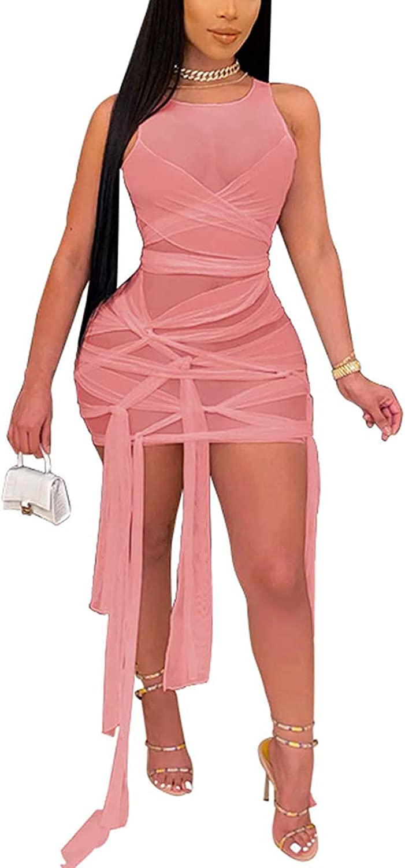 Halfword Womens Sexy See Through Mesh Sleeveless Bodycon Mini Dress Bandage Clubwear