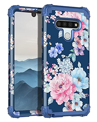 Rancase for LG Stylo 6 Case,Three Layer Heavy Duty Shockproof Protection Hard Plastic Bumper +Soft Silicone Rubber Protective Case for LG Stylo 6,Navy Blue