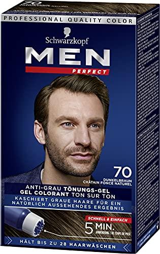Men Perfect Schwarzkopf 70 Haartönung Natur dunkelbraun, hochwertige Haarfarbe gegen graue Haare 3er Pack (3 x 40ml)