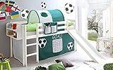 lifestyle4living Hochbett für Kinder in grün-Weiss mit Rutsche, Vorhang im Fussball-Tor Motiv | Spielbett aus Kiefer Massivholz mit Einer Liegefläche 90x200 cm