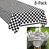 Plastic Black and White Checkered Tablecloths, 8 Packs Plastic Disposable Vinyl Party Tablecloths - Picnic Camping Party Supply Table Cover for Birthdays, Gatherings, Holidays, BBQ (Black and White)