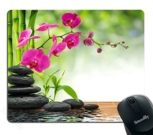 Smooffly Purple Mouse Pad Custom,Composition Bamboo - Purple Orchid - Black Stones Mouse Pad Personality Desings Gaming Mouse Pad