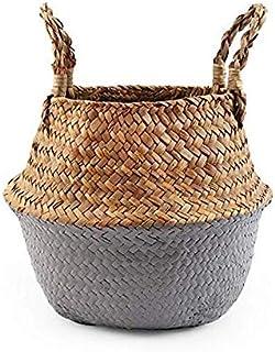 LCM Paniers de Rangement blanchisserie paniers d'herbe d'herbe d'eau en Osier Suspendu Fleur Pot paniers de Stockage Fleur...