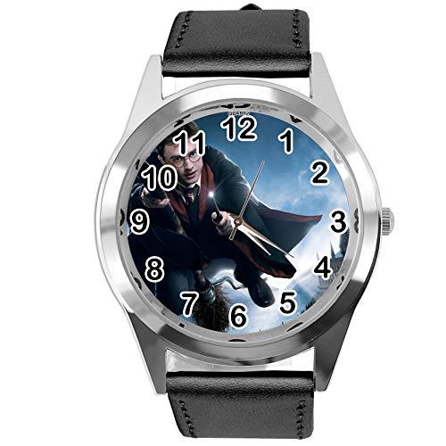 Taport® Montre analogique à quartz avec bracelet en cuir véritable Noir Rond pour les fans de Harry Potter E1