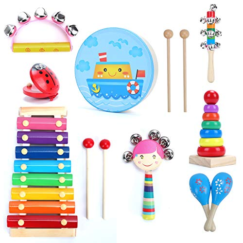 HAMIST Toddler Musical Instruments Set13pcs 8 Type Baby Musical Toys for Kids Over 3 Years OldPercussion Instruments Drum amp Percussion Accessories Easy to Use Birthday Gifts Present