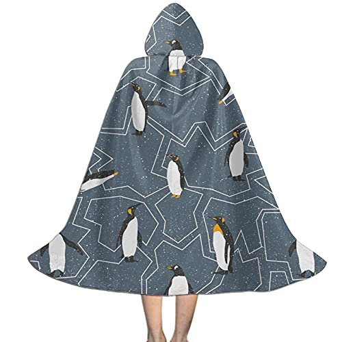 Cute Iceberg Penguin Kids Hooded Cloak Cape For Halloween Party Role Play Cosplay Costume For Kids Boys Girls