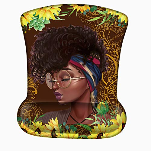 Mouse Pad with Wrist Support, Ergonomic Mouse Pad with Personalized Designs, Wrist Rest Mouse Pads for Computer, Pain Relief Wrist Rest Mousepad W/Non-Slip PU Base - Sunflowers African Girl