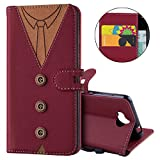 IKASEFU Wallet Strap Case with Card Holder Magnetic Flip Cover Protective case Compatible with man Tie design Cover Compatible with Huawei Y5 2017/Y6 2017,Red