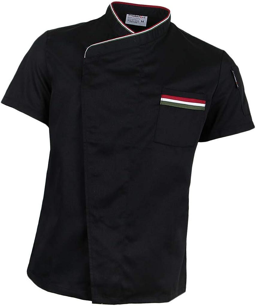 Bonarty Men Women Chef Uniform Cook Jacket Apparel Short Sleeve