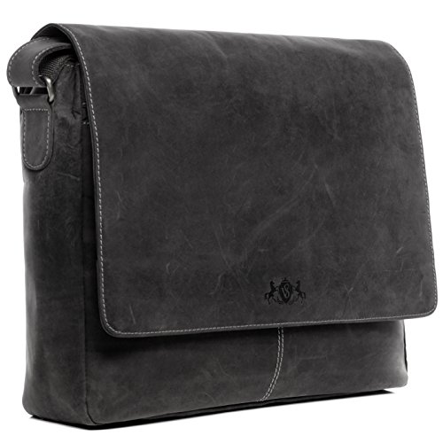 "SID & VAIN Messenger Bag echt Leder Laptoptasche Spencer groß Businesstasche Umhängetasche Laptopfach 15.6"" Ledertasche Herren grau"