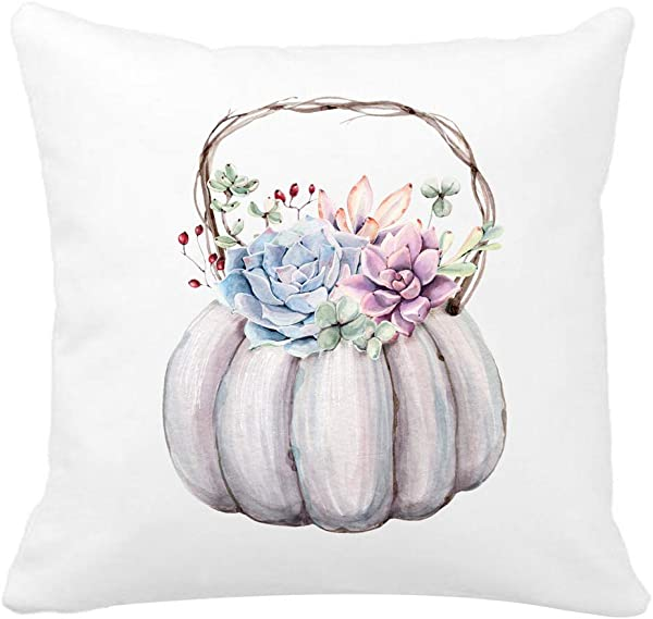 Kithomer Creative Watercolor Pumpkin Colorful Succulent Throw Pillow Case Super Soft Home Decorative Cushion Cover Couch Sofa Bed Chair 18 X 18 Inch