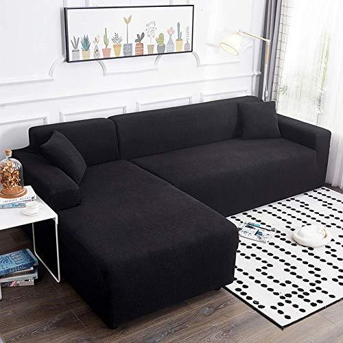 YLLN Funda de sofá elástica para Perros, 1 Pieza Funda de sofá Jacquard Funda Antideslizante Protector de sofá seccional Funda de sofá para Mascotas Negro (Chaise 92-118in) + 75-91in