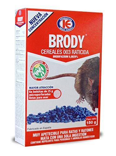 IMPEX EUROPA Brody Cereales 003 - Raticida en Grano para Control de plagas de Ratas y Ratones - Caja 150 gr.