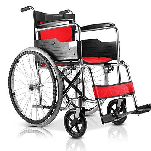 FEEE-ZC Silla de Ruedas, aleación de Aluminio, Silla de Ruedas, Plegable, Ligera, para Ancianos, Carrito portátil, Silla de Ruedas Manual, Coche, Scooter, aleación de Aluminio
