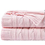NTBAY Cotton Cable Knit Throw, Super Soft Warm Multi Color Blanket, 51 x 67 Inches, Baby Pink