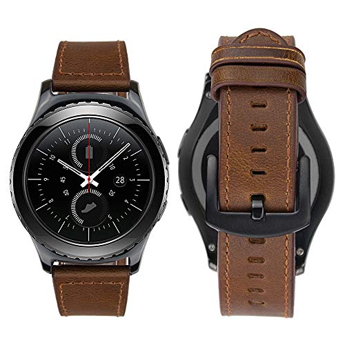 Bazal Correas 20mm Cuero Piel Pulseras Bandas Compatible con Samsung Galaxy Watch 3 41mm/Galaxy Watch 42mm/Active 40mm/Huawei Watch 2/Gear S2 Classic/Sport Hombres (Reloj No Incluido) - Marrón