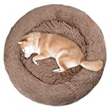 VIVAGLORY Donut Cuddler Bed, Washable Self-Warming Dog Cat Bed with Thick Raised Edge, Suitable for Cats & Medium Dog, Light Taupe, Dia.92cm x H 20cm